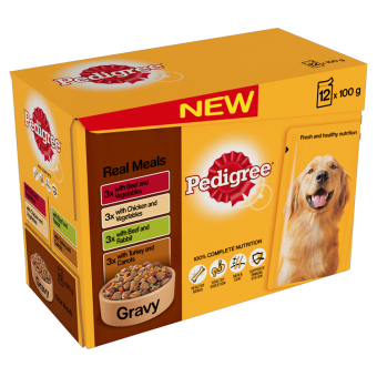Pedigree Adult Pouches Real Meals In Gravy 12 Pack