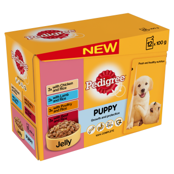 Pedigree Puppy Pouches Meat Selection In Jelly 12 Pack