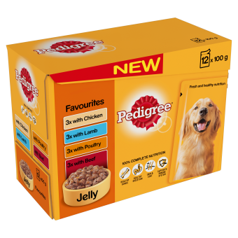 Pedigree Adult Pouches In Jelly Favourites 12 Pack