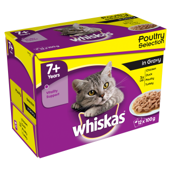 Whiskas 7+ Cat Pouches Poultry Selection in Gravy 12 x 100g