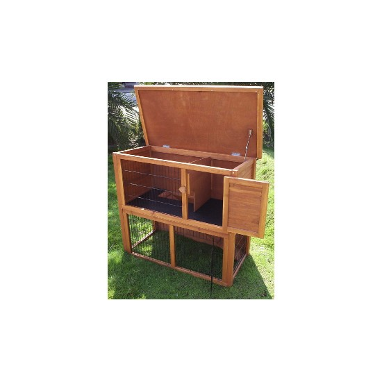 Double Storey Outdoor Hutch With Under-Run (4ft)