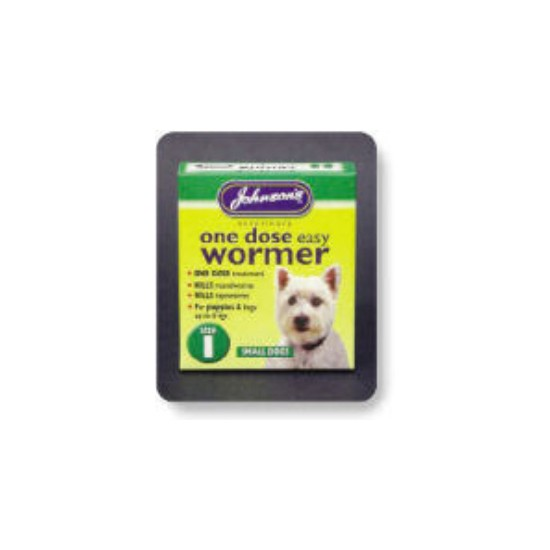 Johnsons One Dose Wormer For Small Dogs Size 1